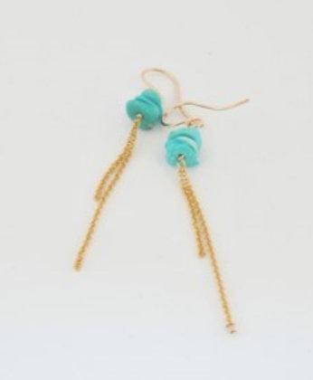 ロックターコイズのロングチェーンピアス / Rock turquoiz long pierce