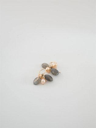 プレシャスラブラドライトとピンクパールの2色ピアス  /  Precious labradolite & pink pearl pierce