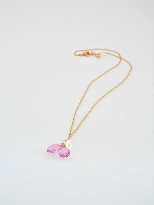 プレシャスピンクトパーズのシェルフラワーペンダントネックレス  / Preciouspink topaz shell flower necklace