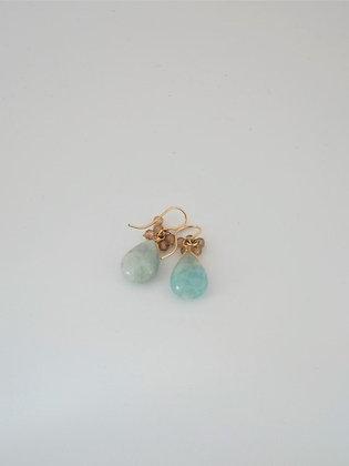 アクアマリンと天然ジルコン房のピアス  / Blue aquamarine & Zircon pierce