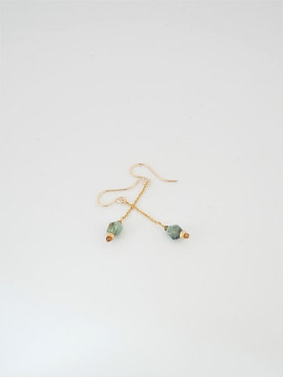アフリカンターコイズとゴールドトルマリンのロングピアス  / African turquoiz & gold tourmarine long pierce