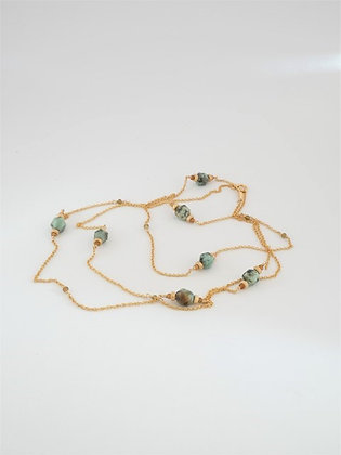 アフリカンターコイズとゴールドトルマリンのロングネックレス / African turquoiz & gold tourmarine long necklace