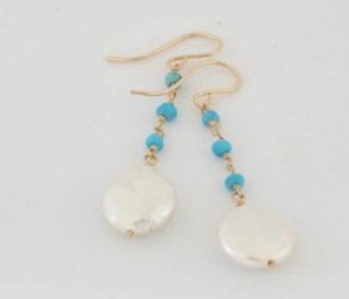 ペアシェイプパールとターコイズのピアス / Pearl & turquoiz pierce
