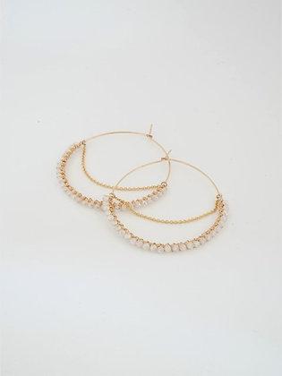 フープ大チェーンピアス(ムーンストーン) / Hoop chain pierce L (Moonstone)