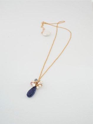 ラピスラズリとパールティアラのネックレス  / Lapislazuli & pearl necklace