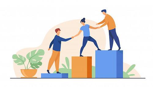employes-donnant-mains-aidant-leurs-coll