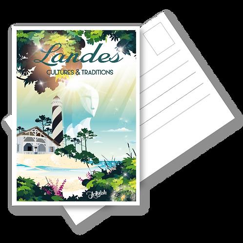 """CARTE POSTALE  LES LANDES """"Cultures et Traditions"""""""