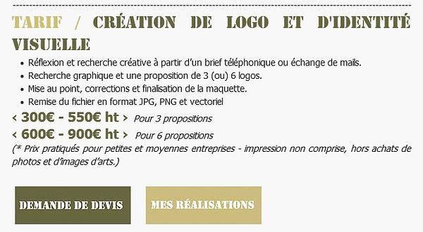 Tarif / Création de logo et d'identité visuelle