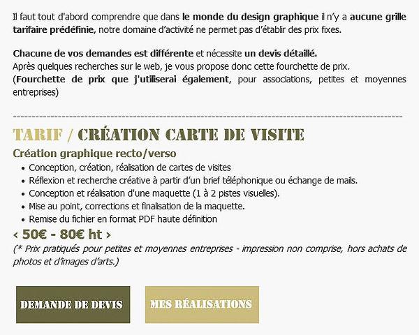 Tarif / Création carte de visite