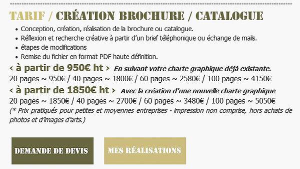 Tarif / Création Brochure et catalogue