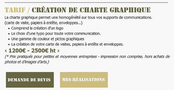 Tarif / Création d'une charte graphique