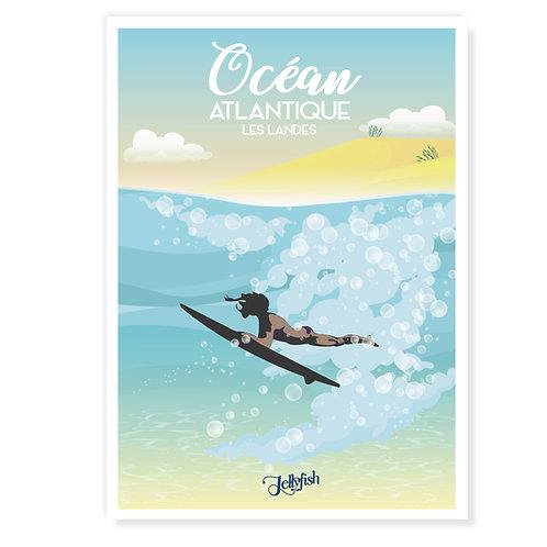 """AFFICHE OCEAN ATLANTIQUE """"Les Landes"""""""