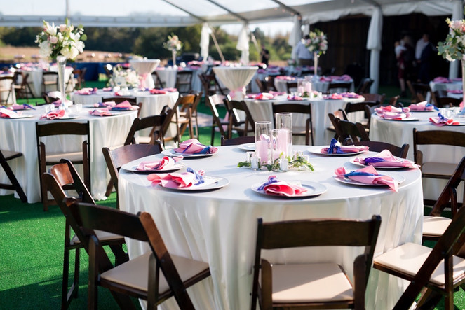 Tent reception in pink and blue  Photo by Morgan Newsom Photography