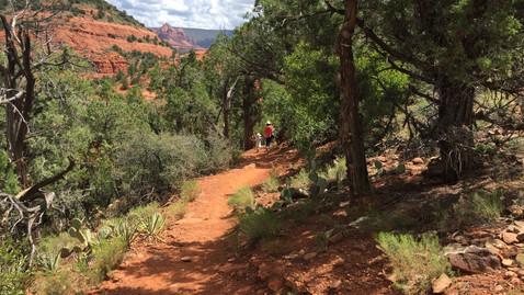 山を歩くBBAと娘