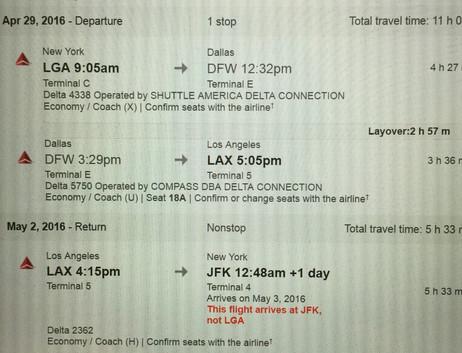 家に帰ってギューとLAへの旅のチケット手配。何故か行きはテキサス乗り換え