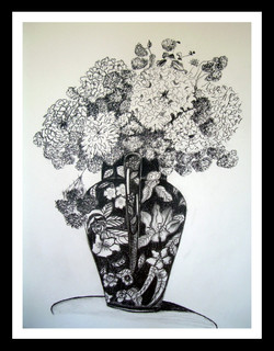 black and white vase with flowers
