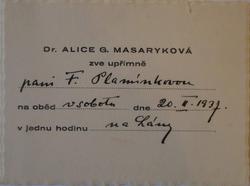 Pozvánka od Alice Masarykové