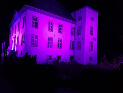 Wunderschöne Bilder vom Wasserschloss Voerde in blau und lila