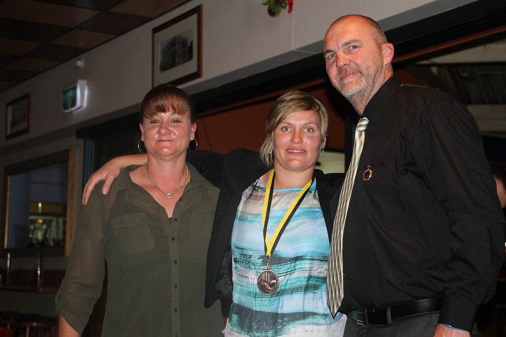 John & Ruth Wilson presenting  Nicole Richards with the Wilson Award for Womens B & F