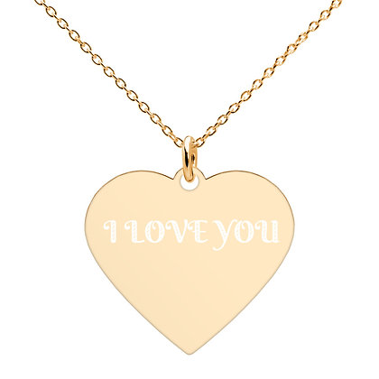 """""""I LOVE YOU"""" Engraved Heart Necklace"""