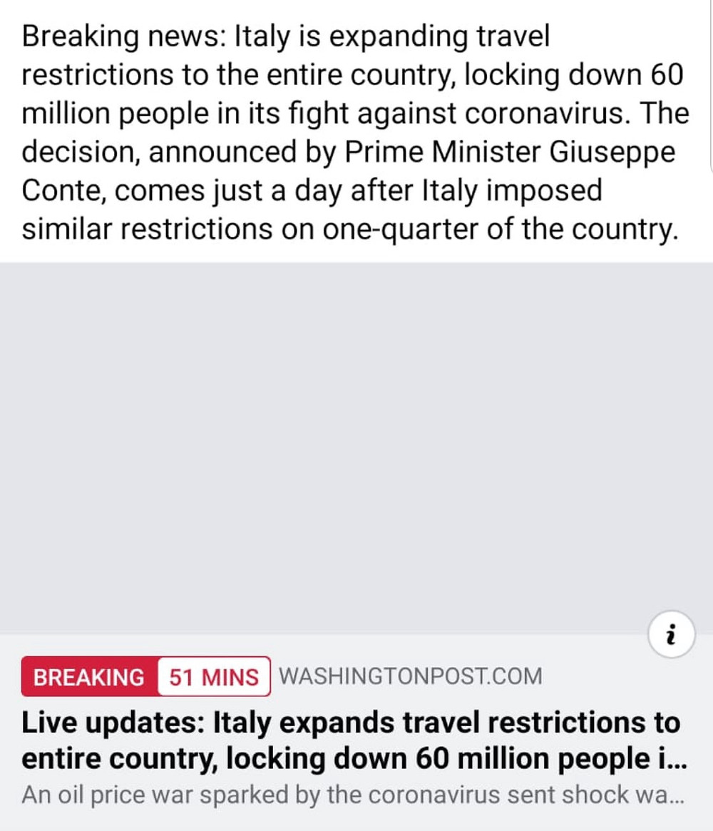 Lock down in Italy due to Coronavirus