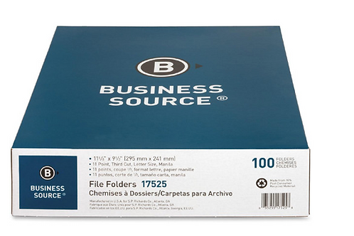 Business Source 1/3 Cut 1-ply Top Tab Manila Folders, Letter - 1/3 Tab Cut