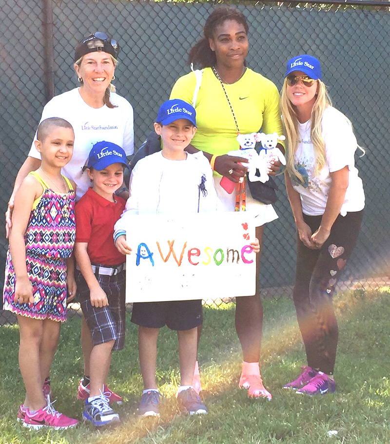 Serena Williams shows her support of Little Star children w cancer