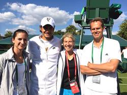 Wimbledon practice. Adriana, Roger Federer, Andrea Jaeger & Stefan Edberg at the Wimbledon practice
