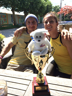 Adriana & Sony with Adriana & AJ trophy to help bring victory to the US in the Nations Cup in Prague