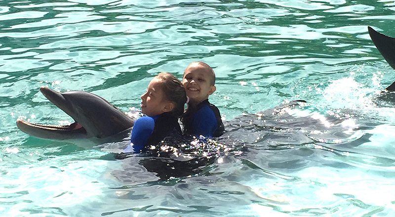 Little Star animal therapy programs. Dolphin ride during children's cancer program