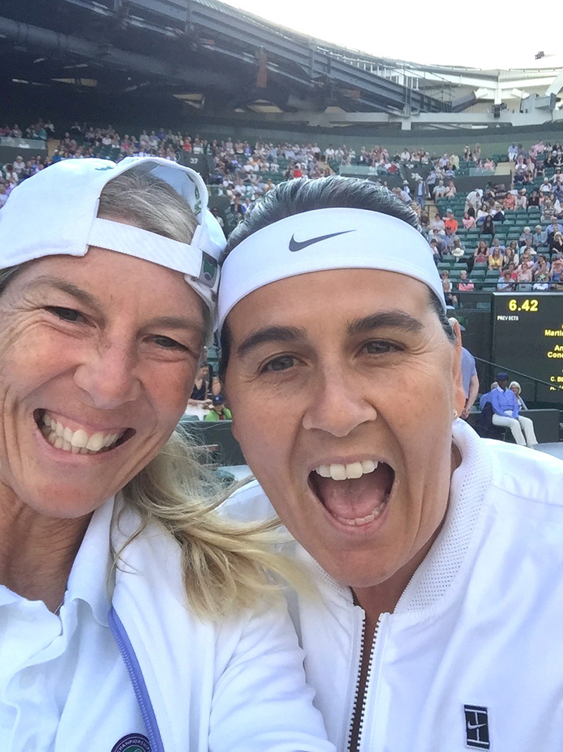Wimbledon Court 1 2017 Conchita Martinez & Andrea Jaeger selfie Wimbledon Court 1