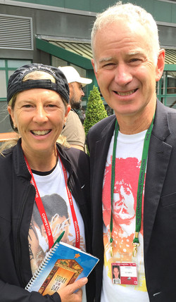 John McEnroe First donor in 1990 to donate to AJ's Fdtn. taken at Wimbledon Player Area 2015