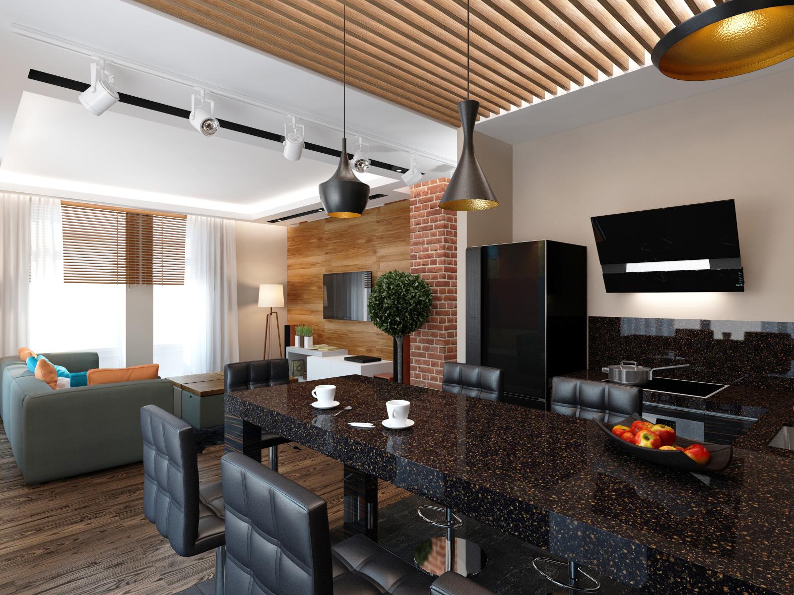 Вид с кухни на гостиную