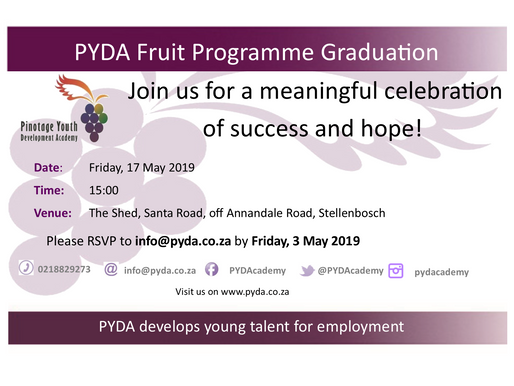 PYDA Fruit Programme Graduation: 17 May 2019