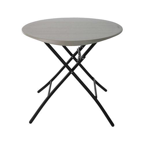 โต๊ะกลมพับขนาด 84 ซม โต๊ะกินกาแฟ โต๊ะกินข้าว โต๊ะพับ พลาสติกสีเทา