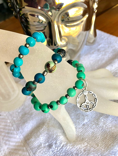 Into the Blue Mala Peace Bracelet w/ Lava Stones