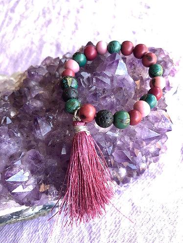 Peony Crush Tassel Bracelet w/ Lava Stones