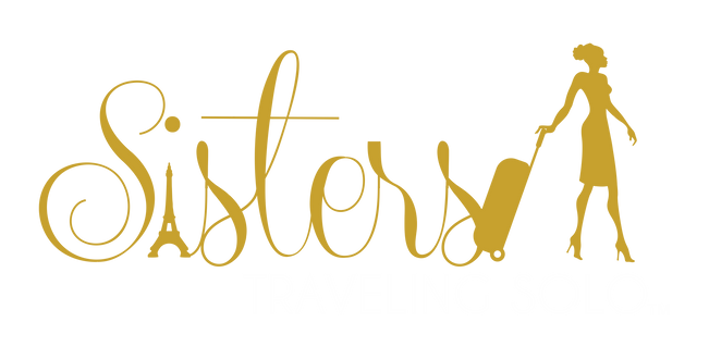Sisters Traveling Solo Gold and White Logo