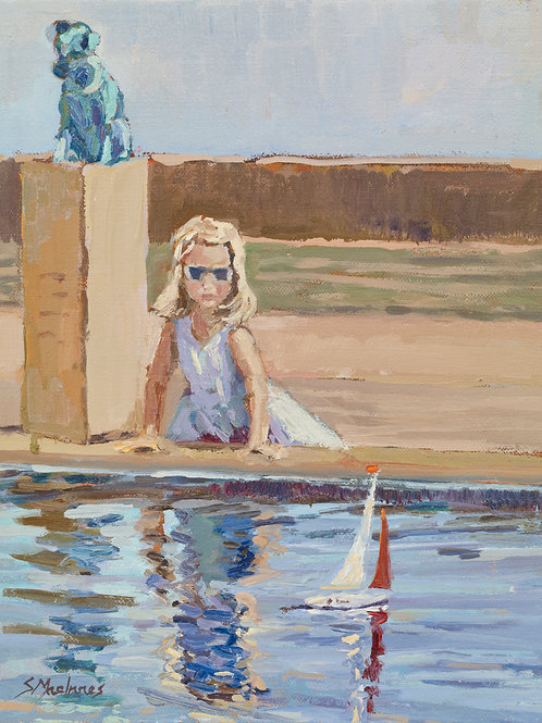 A Young Lady Sailing Her Yacht