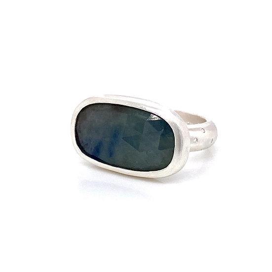 Rose Cut Grey & Blue Sapphire Ring