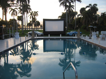 Outdoor screens for corporate sponsorship and target media