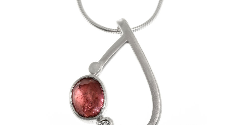 Wings pendant with pink tourmaline
