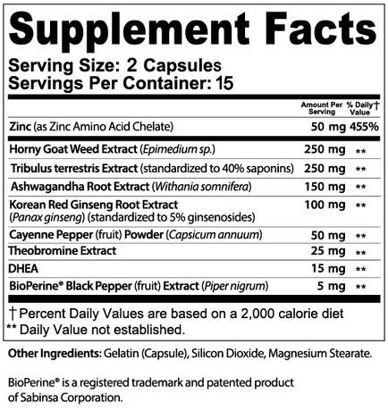 XZEN Labs TestoXzen ULTRA Male Enhancement Supplement Facts