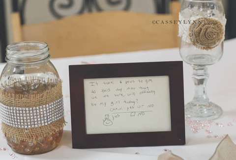Cute Notes from their Dating Days on each table