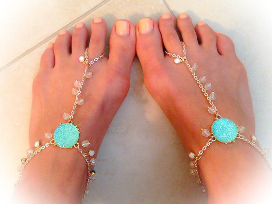 The 'Tiffany Blue'  Foot Chain