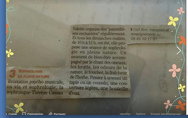 Publication dans Midi Libre Béziers Thérèse Cassan Valette sophrologue Béziers