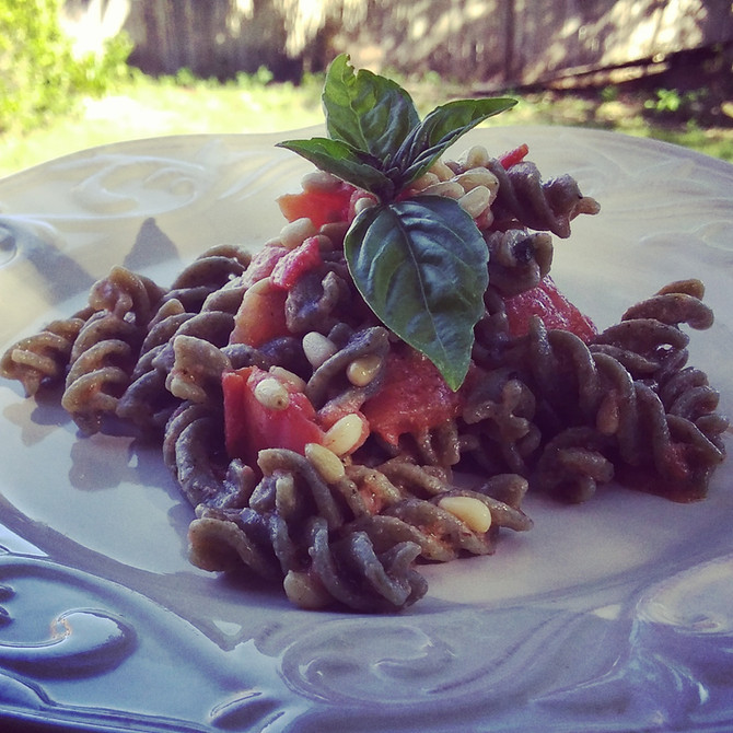 Spinach, Basil and Garlic Fusilli with Fresh Tomato Sauce, Classic Alioli and Pine Nuts