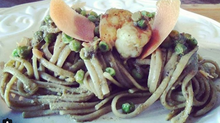 Szechuan Orange Linguine with Shrimp Korma and Peas