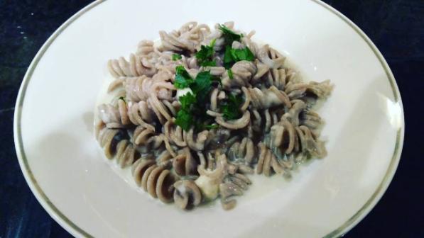 Wild Mushroom Fusilli with Gorgonzola Fondue