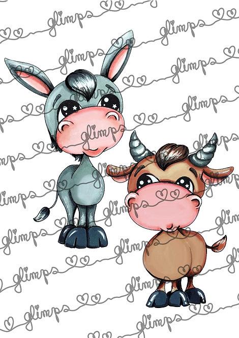 Ox and donkey